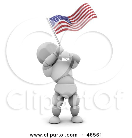 Royalty-Free (RF) Clipart Illustration of a 3d White Character Waving An American Flag On Independence Day by KJ Pargeter