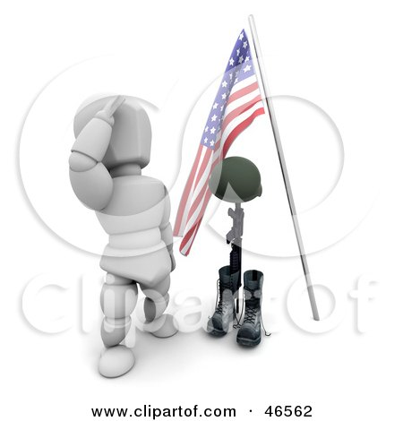 Royalty-Free (RF) Clipart Illustration of a White Character Sauluting The Grave Of A Fallen War Soldier On Memorial Day by KJ Pargeter