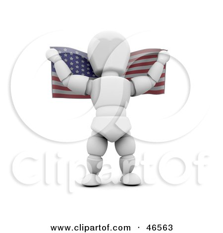 Royalty-Free (RF) Clipart Illustration of a 3d White Character Holding An American Flag Behind His Back On Independence Day by KJ Pargeter