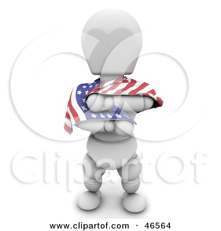 Royalty-Free (RF) Clipart Illustration of a 3d White Character Draping Himself In An American Flag On Independence Day by KJ Pargeter