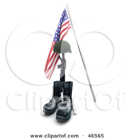 Royalty-Free (RF) Clipart Illustration of a Fallen War Hero's Helmet, Rifle And Boots Under An American Flag by KJ Pargeter