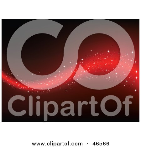 Royalty-Free (RF) Clipart Illustration of a Magical Red Wave With Sparkles On A Dark Background by KJ Pargeter