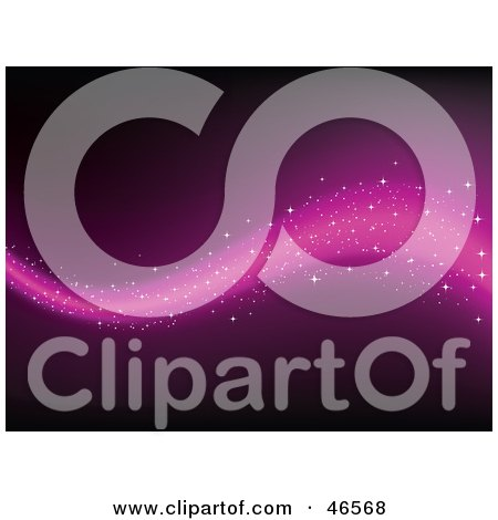 Royalty-Free (RF) Clipart Illustration of a Magical Purple Wave With Sparkles On A Dark Background by KJ Pargeter