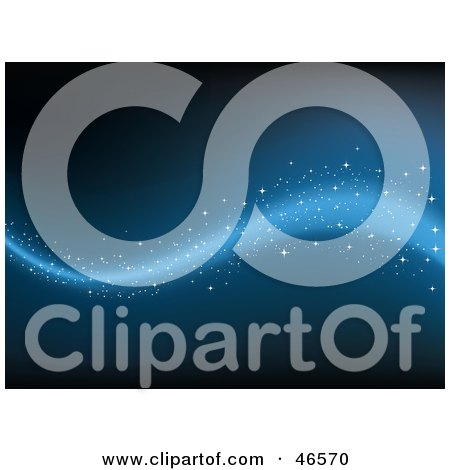 Royalty-Free (RF) Clipart Illustration of a Magical Blue Wave With Sparkles On A Dark Background by KJ Pargeter