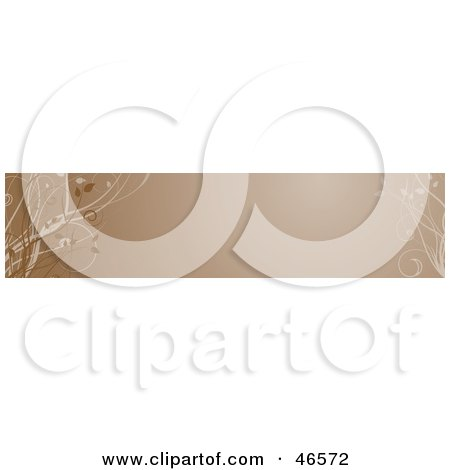 Royalty-Free (RF) Clipart Illustration of a Brown Horizontal Floral Panel Or Blank Website Header by KJ Pargeter