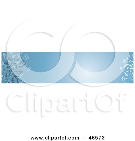 Royalty-Free (RF) Clipart Illustration of a Blue Horizontal Floral Panel Or Blank Website Header by KJ Pargeter