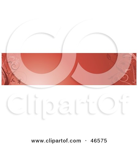 Royalty-Free (RF) Clipart Illustration of a Red Horizontal Floral Panel Or Blank Website Header by KJ Pargeter