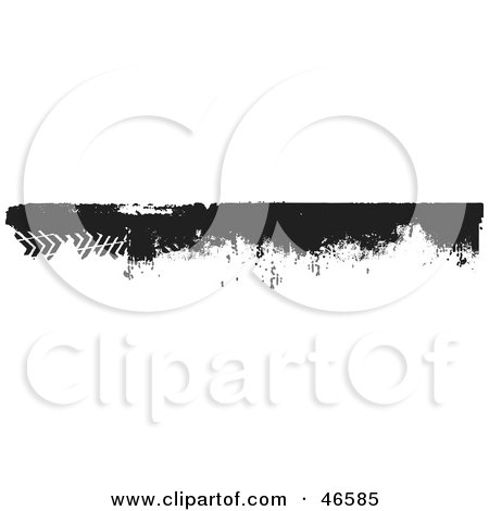 Royalty-Free (RF) Clipart Illustration of a Black Grunge Border Element With Tread Marks by KJ Pargeter