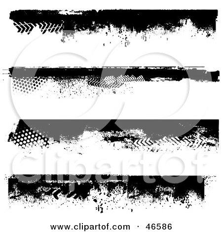 Royalty-Free (RF) Clipart Illustration of a Digital Collage Of Black Grunge Border Elements by KJ Pargeter