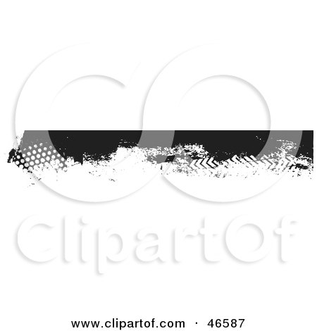 Royalty-Free (RF) Clipart Illustration of a Black Grunge Border Element With Dots And Tread Marks by KJ Pargeter