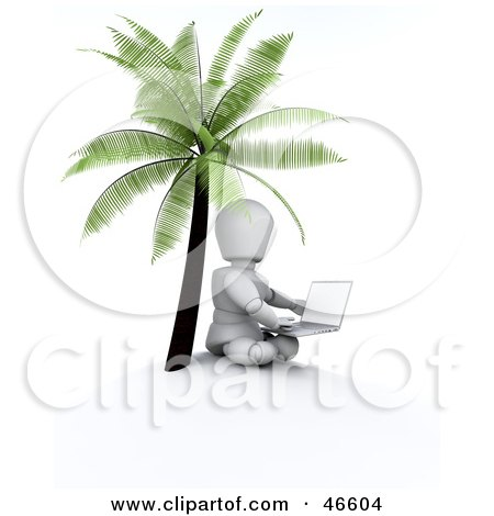 Royalty-Free (RF) Clipart Illustration of a 3d White Character Seated With A Laptop Under A Palm Tree by KJ Pargeter