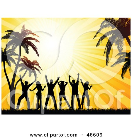 Royalty-Free (RF) Clipart Illustration of a Summer Beach Party With Silhouetted Dancers Under Palm Trees At Sunset by KJ Pargeter
