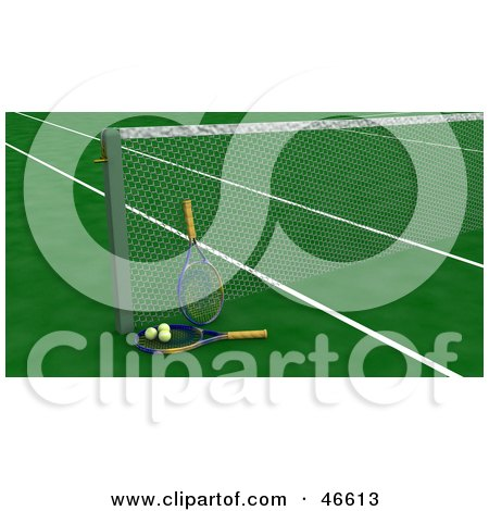 Royalty-Free (RF) Clipart Illustration of Tennis Rackets And Balls Against The Net On A Green Court by KJ Pargeter