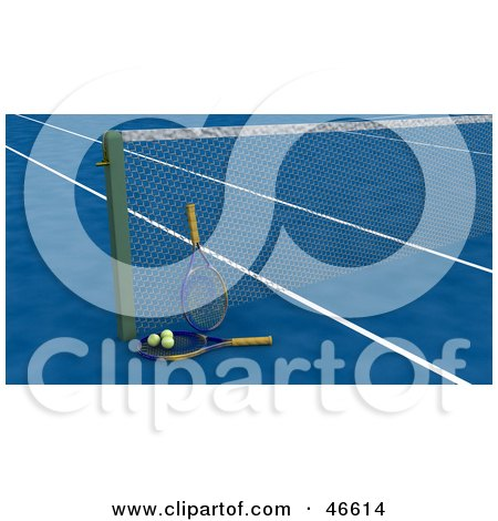 Royalty-Free (RF) Clipart Illustration of Tennis Rackets And Balls Against The Net On A Blue Court by KJ Pargeter