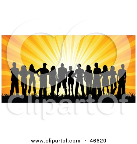 Royalty-Free (RF) Clipart Illustration of a Group Of Silhouetted Adults Against An Orange Sunset by KJ Pargeter