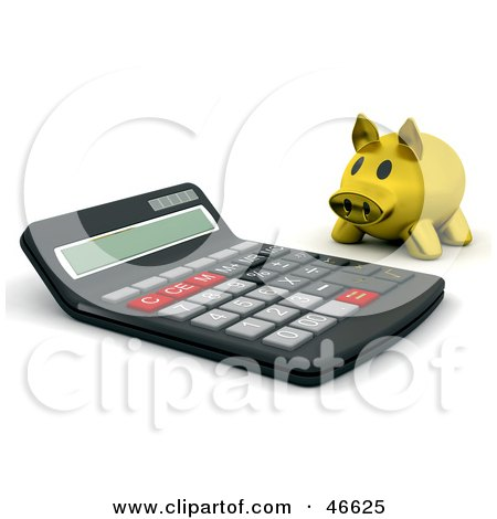 Royalty-Free (RF) Clipart Illustration of a Golden Piggy Bank Looking At A Giant Calculator by KJ Pargeter