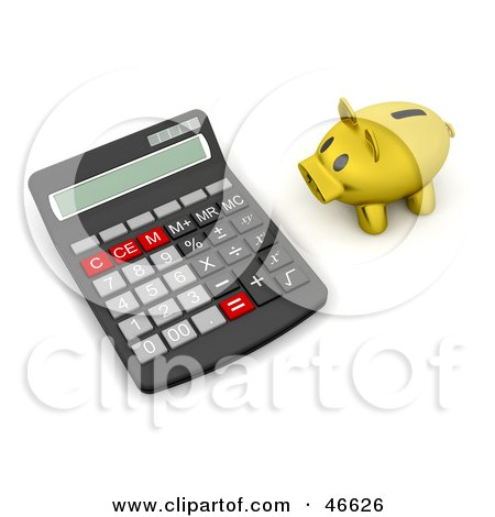 Royalty-Free (RF) Clipart Illustration of a Golden Piggy Bank Facing A Giant Calculator by KJ Pargeter