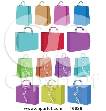 Royalty-Free (RF) Clipart Illustration of a Digital Collage Of Colorful Small And Medium Sized Shopping Or Gift Bags by KJ Pargeter