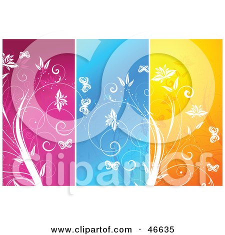 Royalty-Free (RF) Clipart Illustration of a Background Of Pink, Blue And Orange Floral Panels by KJ Pargeter