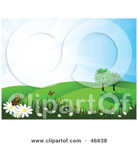 Royalty-Free (RF) Clipart Illustration of a Summer Nature Scene Of Butterflies On Flowers In A Meadow by KJ Pargeter