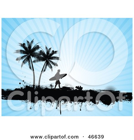 Royalty-Free (RF) Clipart Illustration of a Silhouetted Surfer Dude Carrying His Board Under Trees On A Bursting Blue Background by KJ Pargeter