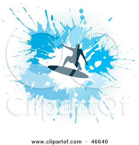 Royalty-Free (RF) Clipart Illustration of a Silhouetted Surfer Dude On A Blue Splatter Background by KJ Pargeter