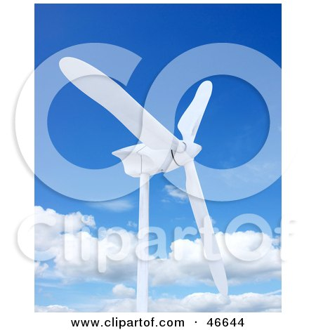 Royalty-Free (RF) Clipart Illustration of a White 3d Wind Turbine Against A Blue Sky With Clouds by KJ Pargeter