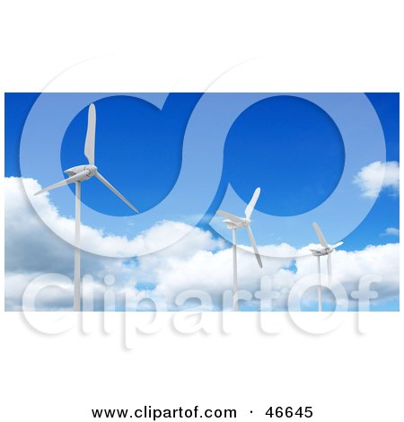 Royalty-Free (RF) Clipart Illustration of Three 3d Turbine Generators At A Wind Farm, Against A Blue Sky by KJ Pargeter
