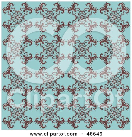 Royalty-Free (RF) Clipart Illustration of an Antique Blue Background With A Floral Pattern by KJ Pargeter