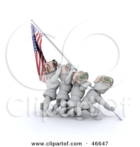 Royalty-Free (RF) Clipart Illustration of 3d White Characters Raising The American Flag After A Battle  by KJ Pargeter