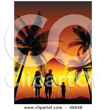 Royalty-Free (RF) Clipart Illustration of a Silhouetted Family Of Three Watching A Tropical Sunset On Vacation by KJ Pargeter