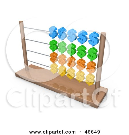 Royalty-Free (RF) Clipart Illustration of a Wooden Abacus With Colorful Dollar Symbols by 3poD