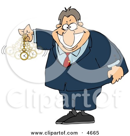 Expert in Hypnotism Waving a Clock Back and Forth Clipart by djart