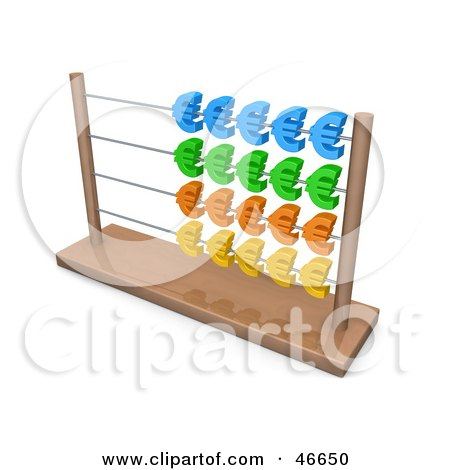 Royalty-Free (RF) Clipart Illustration of a Wooden Abacus With Colorful Euro Symbols by 3poD