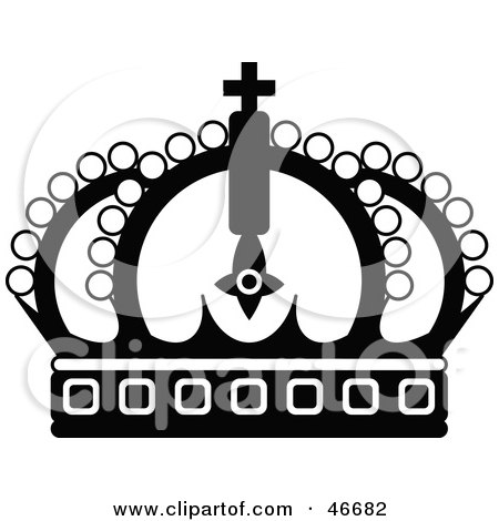 Royalty-free clipart picture of an ornate black royal crown,