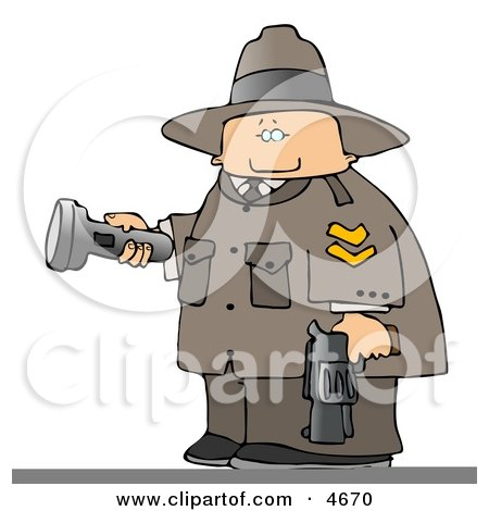 Ranger Armed With A Gun And Pointing A Flashlight Clipart