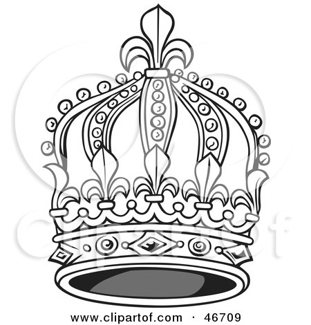 Clipart Illustration Of A Tall Black And White Elegant King Crown By