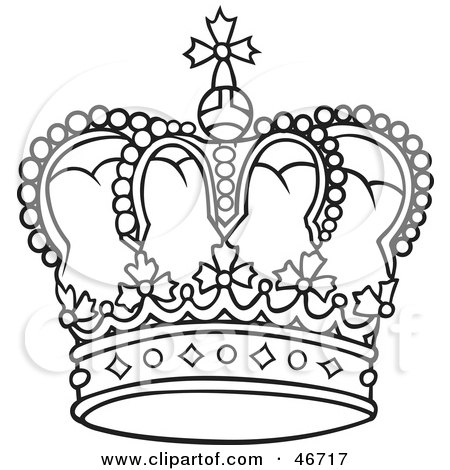Clipart Illustration Of A Rounded And Jeweled Black And White Crown