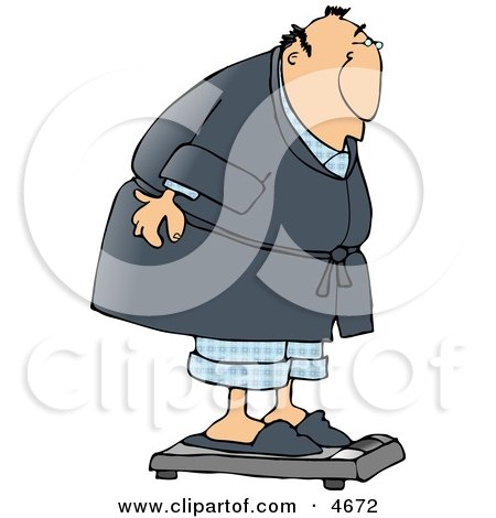Fat Man Weighing Himself On a Standard Bathroom Scale Clipart by djart