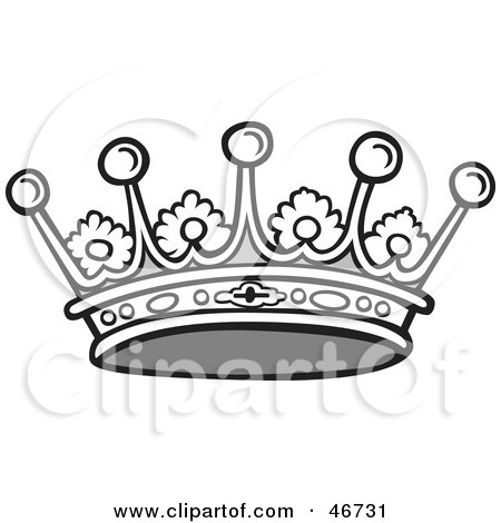 Clipart Illustration Of A Black And White Jeweled Crown With Floral