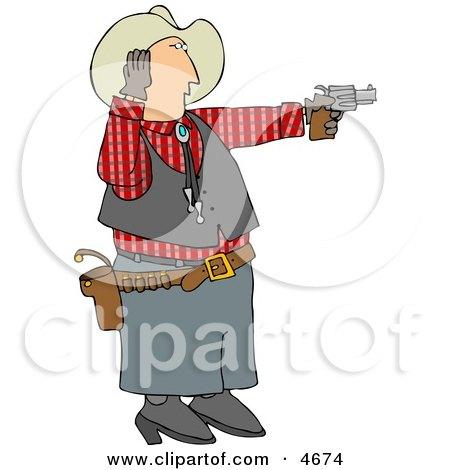 Cowboy Covering His Ear While Shooting A Loud Gun Clipart
