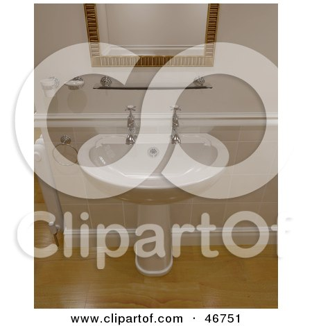 Royalty-Free (RF) Clipart Illustration of a 3d Porcelain Hand Washing Sink In A Bathroom With Wooden Floors And Tiled Walls by KJ Pargeter