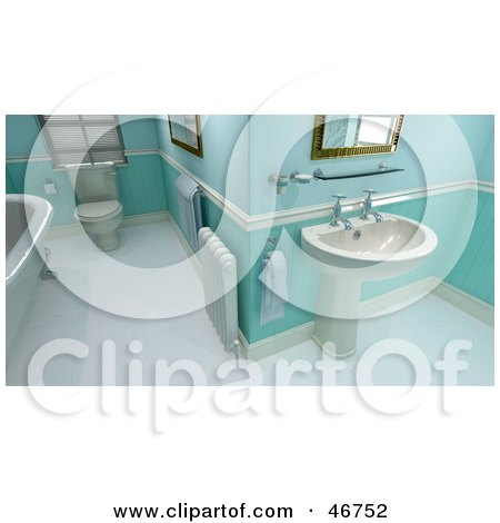 Royalty-Free (RF) Clipart Illustration of a Green And Blue Tile Bathroom Interior With A Heater, Sink, Tub And Toilet by KJ Pargeter