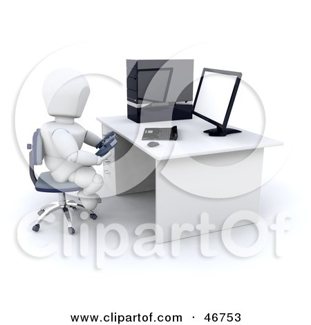 Royalty-Free (RF) Clipart Illustration of a 3d White Character Gaming Online by KJ Pargeter