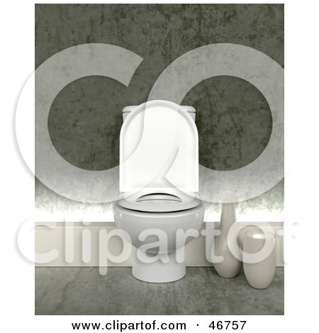Royalty-Free (RF) Clipart Illustration of a Modern White 3d Toilet In A Bathroom by KJ Pargeter