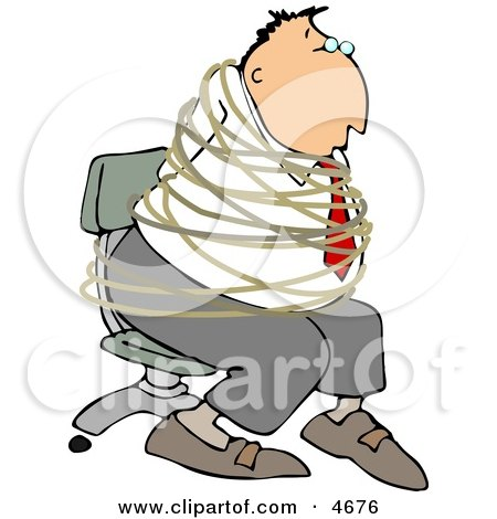 Hostage Businessman Tied with Rope to a Chair Clipart by djart