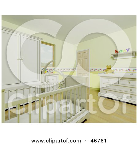 Royalty-Free (RF) Clipart Illustration of The Interior Of A Yellow Baby Room With A Mobile Suspended Over The Crib by KJ Pargeter