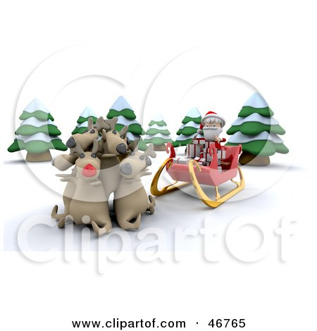 Royalty-Free (RF) Clipart Illustration of Reindeer Cuddling And Refusing To Pull Santa's Sleigh by KJ Pargeter
