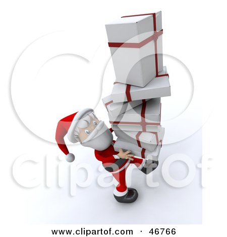 Royalty-Free (RF) Clipart Illustration of a Friendly Santa Claus Carrying A Tall Stack Of Christmas Gifts by KJ Pargeter