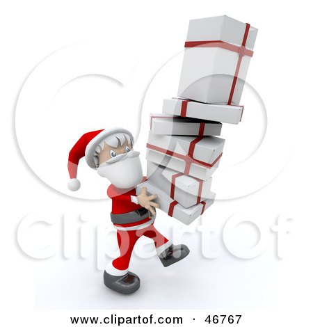 Royalty-Free (RF) Clipart Illustration of a Jolly Santa Carrying A Tall Stack Of Christmas Gifts by KJ Pargeter